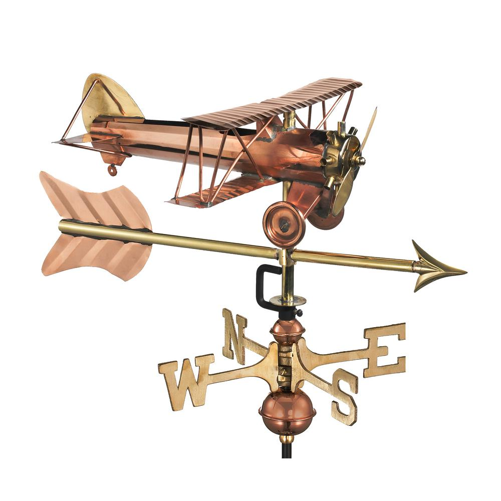 Biplane with Arrow Cottage Weathervane-Pure Copper with Roof Mount