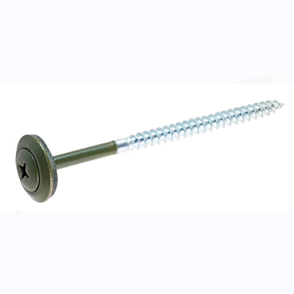 2.87 in. Green Screw With Washer (1500-Piece per Box)